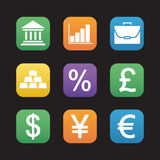 Finance and banking flat design icons set. Trading and stock market web application interface. Deposit chart, exchange rates, gold bars and currency signs Royalty Free Stock Photography