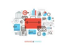 Finance and banking flat line illustration Royalty Free Stock Image