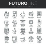 Finance and Banking Futuro Line Icons Set. Modern thin line icons set of money making, banking and financial services. Premium quality outline symbol collection Stock Images