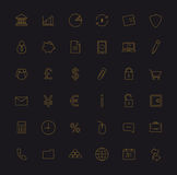 Finance and banking gold linear icons set. Vip customer service. Vector line art Stock Image