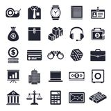 Finance and Banking Icon Set. Finance and banking theme, black and white icons Stock Images