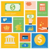 Finance and Banking icon set. Flat vector retro design Stock Image