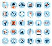 Finance and banking icons in colored flat style. Large set of finance and banking icons in colored flat style on round blue web buttons depicting cash Royalty Free Stock Photos