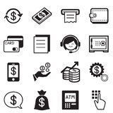 Finance & banking icons, credit card, atm Illustration Vector Sy Stock Images