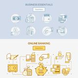 Finance banking icons horizontal banners. the network of cash handling, connections and actions with money royalty free illustration