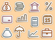 Finance and Banking icons set. Finance and Banking icons on stickers Royalty Free Stock Photos