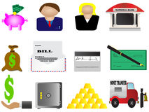 Finance and banking icons set Stock Photos