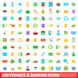 100 finance and banking icons set, cartoon style Royalty Free Stock Image