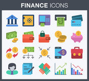 Finance and banking icons. Set of flat style finance and banking icons Stock Photo