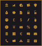 Finance and banking icons set. Gold. Finance and banking silhouette icons set. Vip customer online service. Gold user interface. Commercial and business website Royalty Free Stock Photography