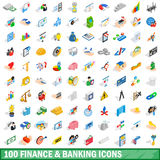 100 finance and banking icons set, isometric style. 100 finance and banking icons set in isometric 3d style for any design vector illustration Stock Photos