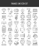Finance and banking icons set. Modern thin line icons set of finance, investment, banking and money. Premium quality outline symbol collection. Simple mono Stock Photography