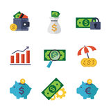 Finance and Banking icons set. Set of vector finance and banking icons.  elements Stock Photography
