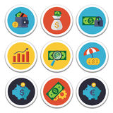 Finance and Banking icons set. Set of vector finance and banking icons. Isolated and round elements Royalty Free Stock Image