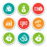 Finance and Banking icons set. Set of vector finance and banking icons. Isolated and round elements Stock Image