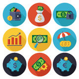 Finance and Banking icons set. Set of vector finance and banking icons. Isolated and round elements Royalty Free Stock Photo