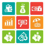Finance and Banking icons set. Set of vector finance and banking icons. Isolated and square elements Royalty Free Stock Photography