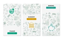Finance banking icons vertical banners. Three vertical banners on white background vector illustration