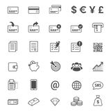Finance and banking line style vector icon set Stock Image