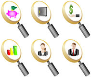 Finance and Banking magnifying glass icons set  Stock Photos