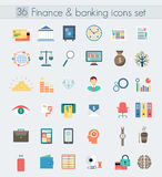 Finance banking modern design flat icons set. Finance and banking modern design flat icons set. Money and business management symbol objects Stock Photos