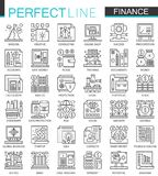Finance banking outline mini concept symbols. Money online banking modern stroke linear style illustrations set. Perfect. Thin line icons Royalty Free Stock Images