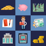 Finance banking set. Finance  banking set Money, finance.vector illustration Stock Photos