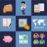 Finance  banking set Royalty Free Stock Photo