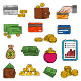 Finance and banking sketched icons. Money bag and dollar bills, golden coins and wallet, coin purse and credit card, stack of gold bars and financial report with Stock Photo