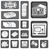 Finance banking squared icons. A collection of different finance banking squared icons Royalty Free Stock Photo