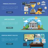 Finance Banner Horizontal Set. With financial investment and market analysis flat elements isolated vector illustration Stock Photo