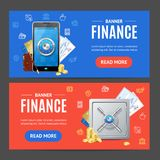 Finance Banner Horizontal Set. Vector. Finance Banner Realistic Detailed 3d Horizontal Set. Vector illustration of Protection and Savings Money in Bank Concept Stock Photography
