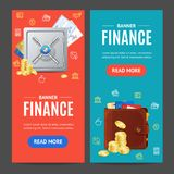 Finance Banner Vecrtical Set. Vector. Finance Banner Realistic Detailed 3d Vecrtical Set Include of Metal Safe and Gold Coin. Vector illustration of Banners Royalty Free Stock Photo