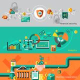 Finance banner set. With financial security analytic business cooperation  vector illustration Royalty Free Stock Image