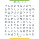 Finance big line icons set. Banking and finance icons set. Modern icons on theme commerce, payments, insurance, business and deposits. Thin line design icons Royalty Free Stock Image