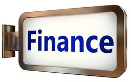 Finance on billboard background. Finance wall light box billboard background , isolated on white Royalty Free Stock Images