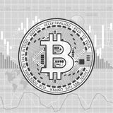 Finance bitcoin background gray. Gray business background with candlesticks and bitcoin symbol Stock Photo