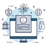 Finance with bitcoin icons. Vector illustration design Stock Photo