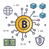 Finance with bitcoin icons. Vector illustration design Stock Images