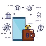 Finance with bitcoin icons. Vector illustration design Stock Photography