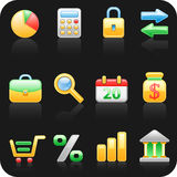 Finance black background icon set.  Royalty Free Stock Photos