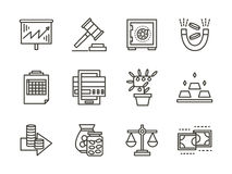 Finance black line icons set. Finance strategy, banking account and investing, money circulation process. Black line style icons set. Elements of web design for Stock Image