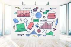 Finance and brainstorm concept. Modern light interior with colorful business sketch on wall and city view with daylight. Finance and brainstorm concept. 3D vector illustration