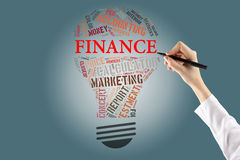 Finance Bulb Words Cloud.Hand holding pen. Business concept Royalty Free Stock Photography