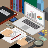 Finance and business. Analyst at the workplace checks reports. W vector illustration
