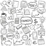 Finance Business Bank Equipment Traditional Doodle Icons Sketch Hand Made Design Vector. A emblematic elements and Tools Traditional Doodle Style Hand Drawn Stock Photography