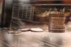 Finance background with money and with stock chart. royalty free stock image