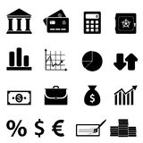 Finance, business and banking icons. Finance, business and banking icon set Stock Images