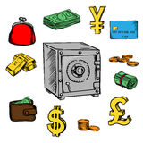 Finance, business and banking sketched icons. Finance, business and banking sketch icons with dollar bills and coins, bank credit card, stack of gold bars, yen Royalty Free Stock Image