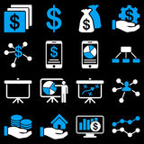 Finance and business charts icons. These flat bicolor symbols use blue and white colors. Vector images are  on a black background Royalty Free Stock Images